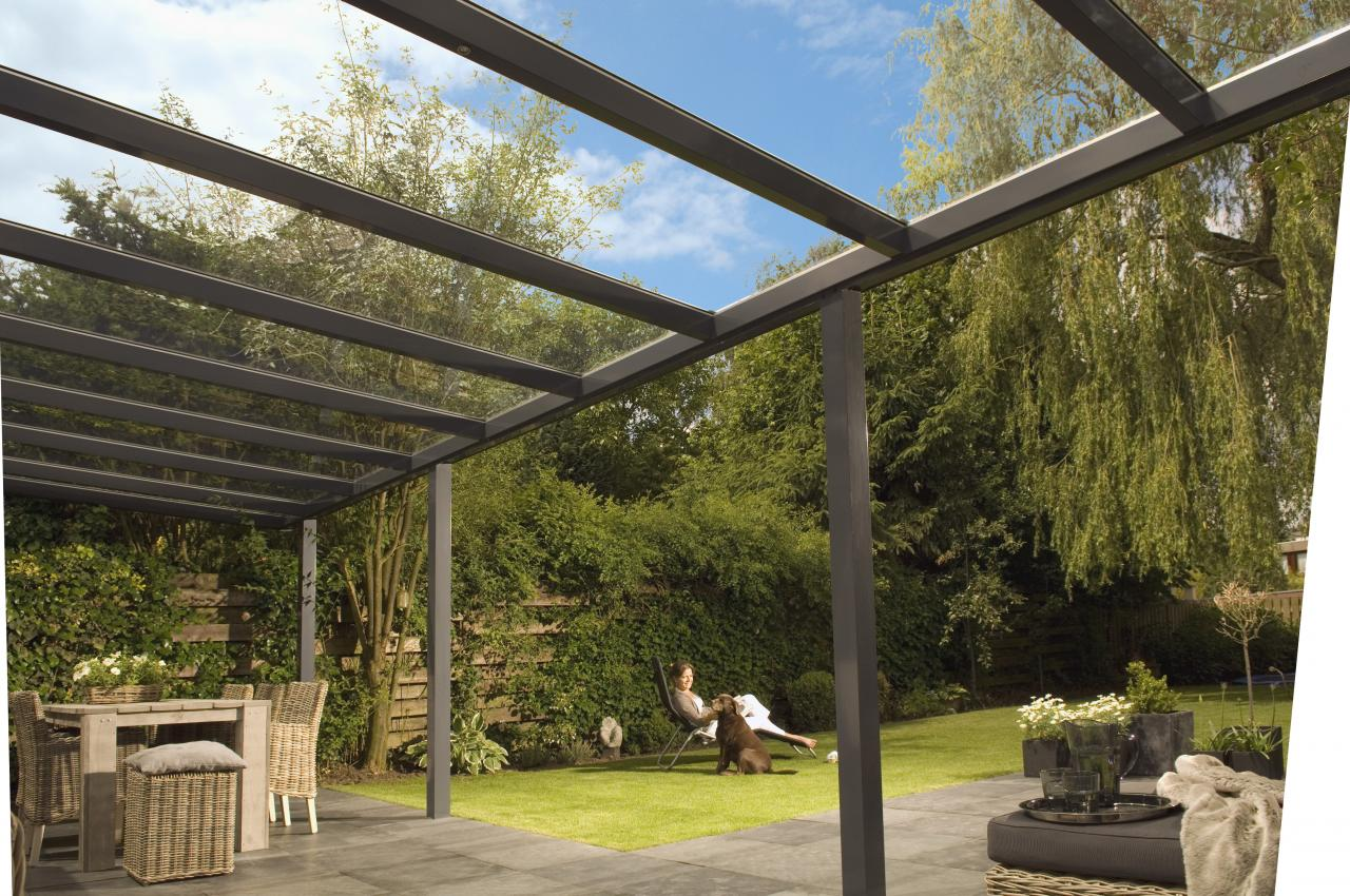 pergola avec toit en verre