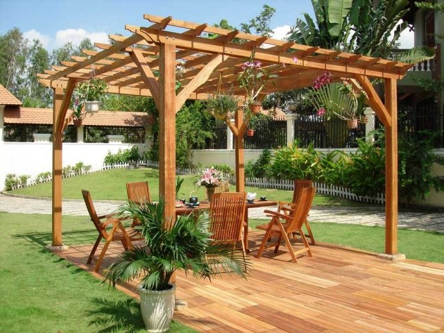pergolas en bois pour terrasse. Black Bedroom Furniture Sets. Home Design Ideas