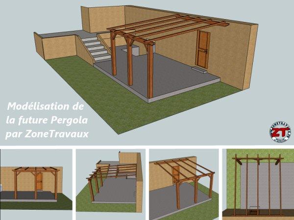 construire pergola bois plan. Black Bedroom Furniture Sets. Home Design Ideas