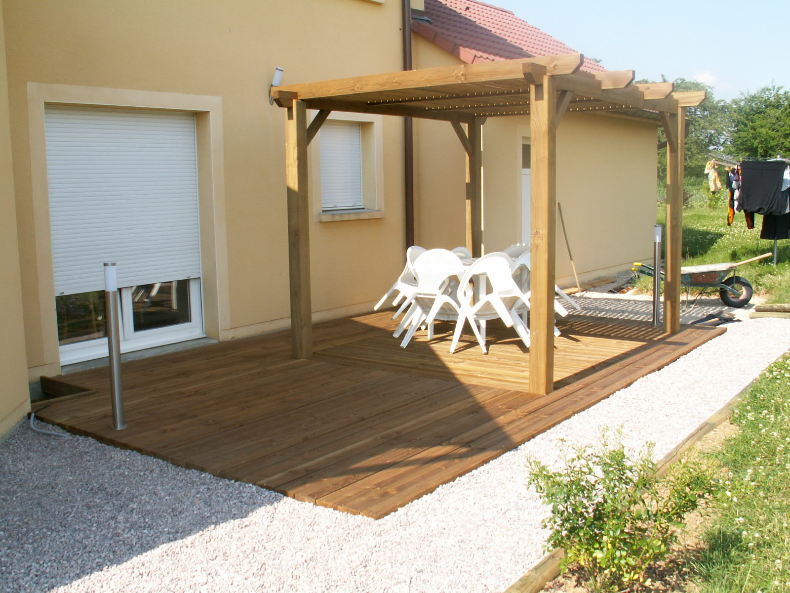 pergola en bois pour terrasse. Black Bedroom Furniture Sets. Home Design Ideas